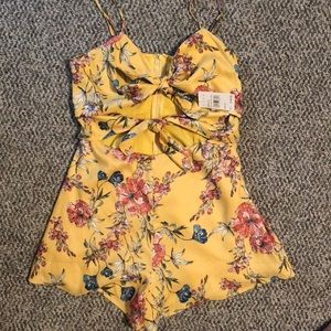 Lush brand double tie front romper new w/ tags.